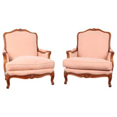 Pair of Vintage French Cherry Bergères Armchairs