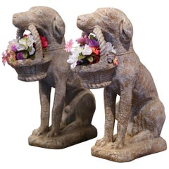 Pair of Vintage French Concrete Weathered Patinated Puppy Labrador Sculptures