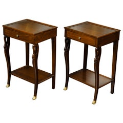 Pair of Vintage French Empire Style Mahogany Bedside Tables with Swan Motifs