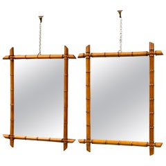 Pair of Vintage French Faux Bamboo Mirrors with Original Mirror Plates