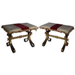 Pair of Vintage French Gilded, Hand Forged Iron and Upholstered Benches/Stools