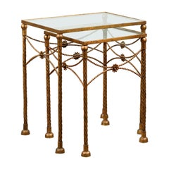 Pair of Vintage French Gilt Metal Midcentury Nesting Tables with Glass Tops