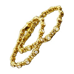 Pair of Vintage French Gold and Diamond Bracelets by Van Cleef & Arpels, c.1970