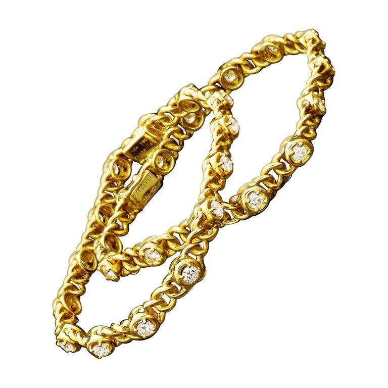 Van Cleef & Arpels Vintage French Gold and Diamond Bracelets c.1970 For Sale