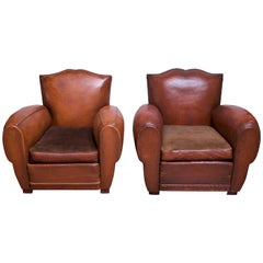 Pair of Vintage French Leather 'Mustache' Club Chairs