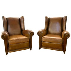 Pair of Vintage French Leather Studded Bergère Club Chairs