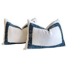 Pair of Vintage French Linen and Batik Lumbar Pillows