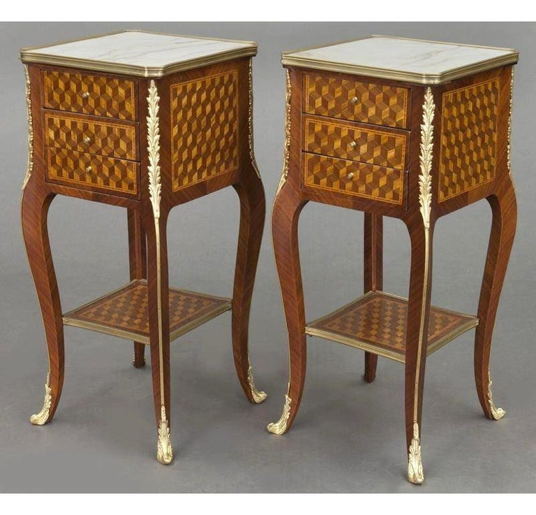 Patinated Pair of Vintage French Louis XV Marquetry and Bronze Nightstands with Marble Top For Sale