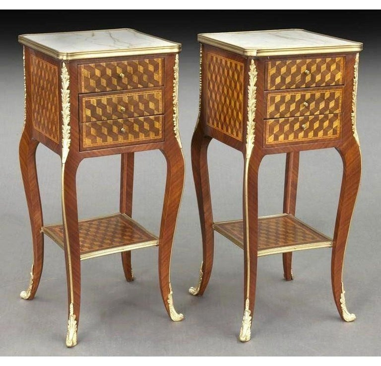Pair of Vintage French Louis XV Marquetry and Bronze Nightstands with Marble Top In Excellent Condition For Sale In Dallas, TX