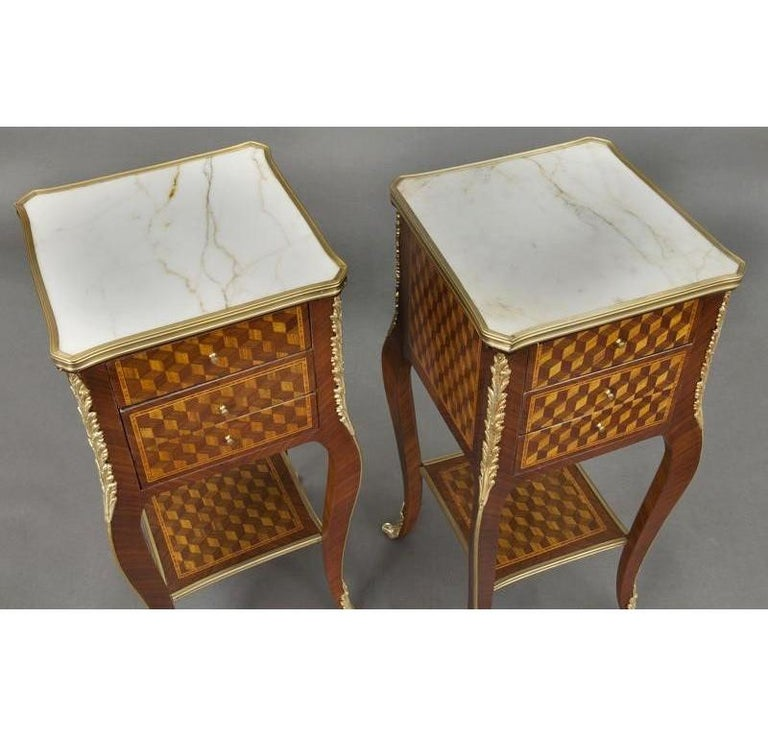 20th Century Pair of Vintage French Louis XV Marquetry and Bronze Nightstands with Marble Top For Sale