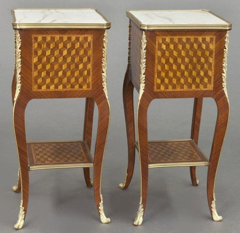 Pair of Vintage French Louis XV Marquetry and Bronze Nightstands with Marble Top For Sale 2