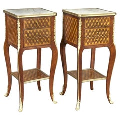 Pair of Vintage French Louis XV Marquetry and Bronze Nightstands with Marble Top