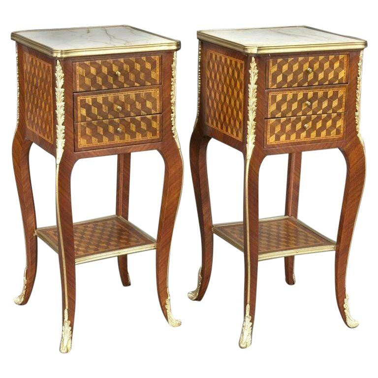 Pair of Vintage French Louis XV Marquetry and Bronze Nightstands with Marble Top For Sale