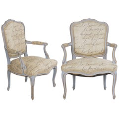 Pair of Vintage French Louis XV Style Armchairs in Blue Paint