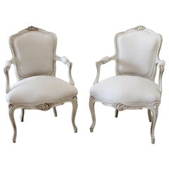 Pair of Vintage French Louis XV Style Carved Open Armchairs