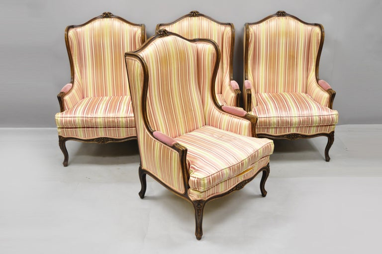 Pair of Vintage French Louis XV Style Wingback Bergere Armchairs, W & J Sloane For Sale 5