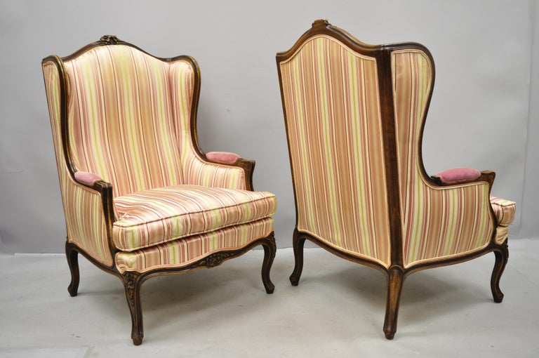 Pair of Vintage French Louis XV Style Wingback Bergere Armchairs, W & J Sloane For Sale 6
