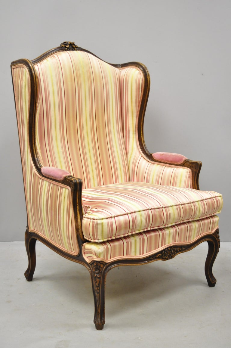 Italian Pair of Vintage French Louis XV Style Wingback Bergere Armchairs, W & J Sloane For Sale