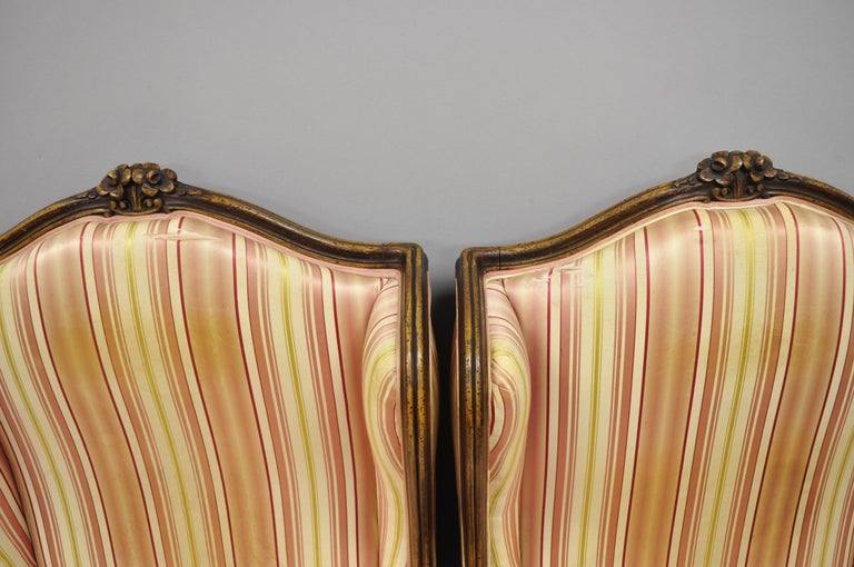 Fabric Pair of Vintage French Louis XV Style Wingback Bergere Armchairs, W & J Sloane For Sale