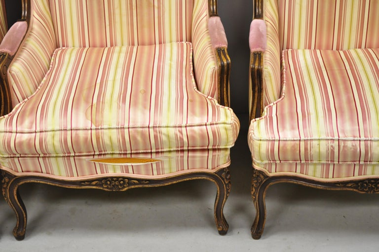 Pair of Vintage French Louis XV Style Wingback Bergere Armchairs, W & J Sloane For Sale 2