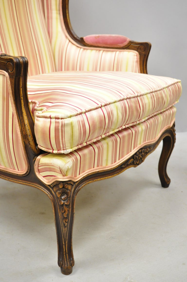 Pair of Vintage French Louis XV Style Wingback Bergere Armchairs, W & J Sloane For Sale 3