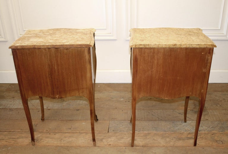 Pair of Vintage French Louis XV Style Wood Nightstands with Marble Tops For Sale 8