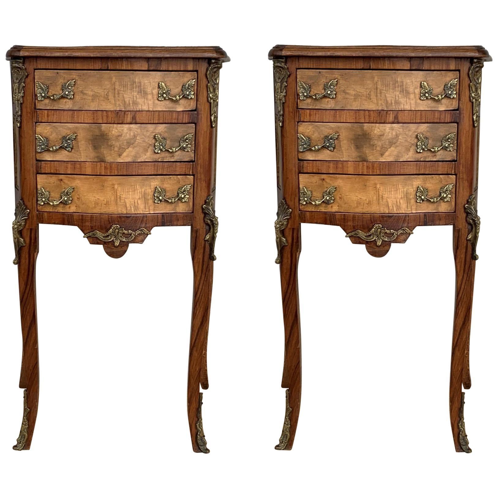 Pair Of Vintage French Louis Xv Style Wood Nightstands With Three Drawers For Sale At 1stdibs