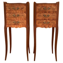 Pair of Vintage French Louis XV Style Wood Nightstands with Three Drawers