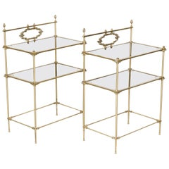 Pair of Vintage French Louis XVI Style Brass and Glass Shelves or Side Tables