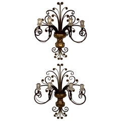 Pair of Vintage French Maison Baguès Iron and Foil Glass Wall Sconces