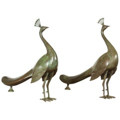 Pair of Vintage French Midcentury Metal Peacocks with Verdigris Patina