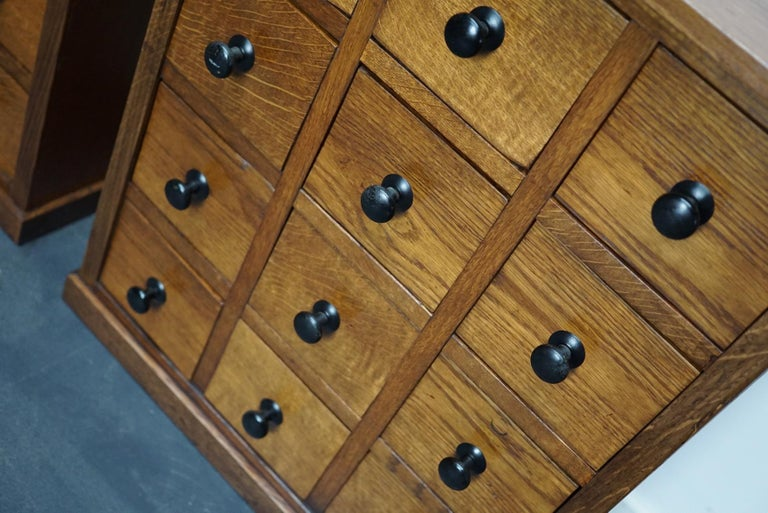 Pair of Vintage French Oak Apothecary Cabinets, 1930s For Sale 6