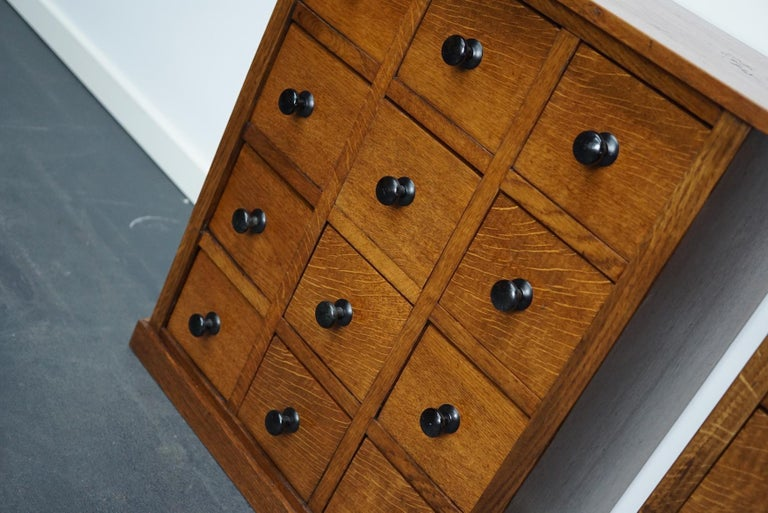 Pair of Vintage French Oak Apothecary Cabinets, 1930s For Sale 7
