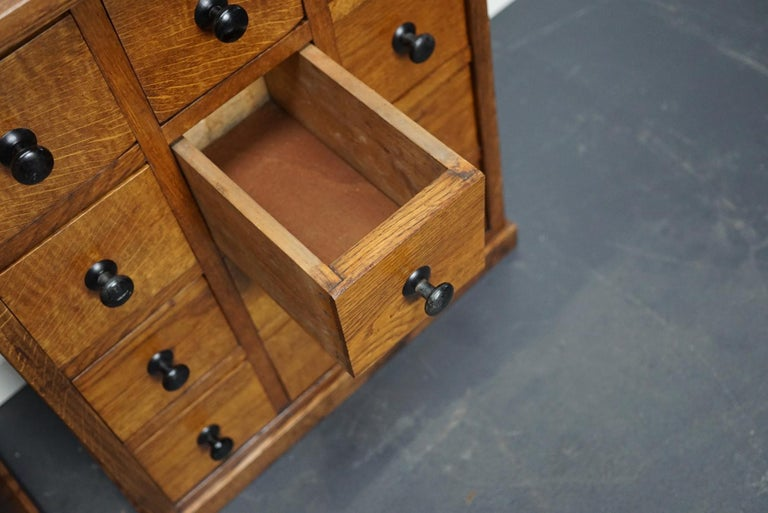 Pair of Vintage French Oak Apothecary Cabinets, 1930s For Sale 8