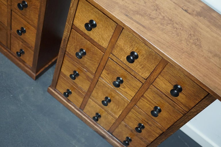 Pair of Vintage French Oak Apothecary Cabinets, 1930s For Sale 9
