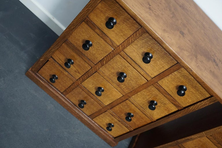 Pair of Vintage French Oak Apothecary Cabinets, 1930s For Sale 10