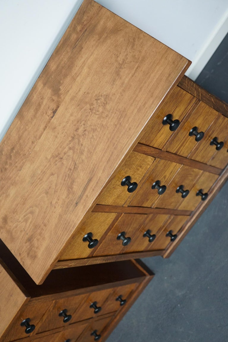 Industrial Pair of Vintage French Oak Apothecary Cabinets, 1930s For Sale