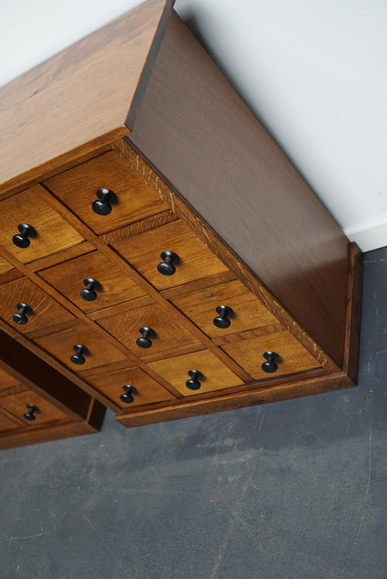 Pair of Vintage French Oak Apothecary Cabinets, 1930s For Sale 4