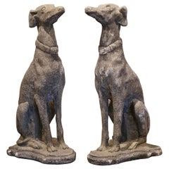 Pair of Vintage French Outdoor Weathered Carved Stone Greyhound Dog Sculptures