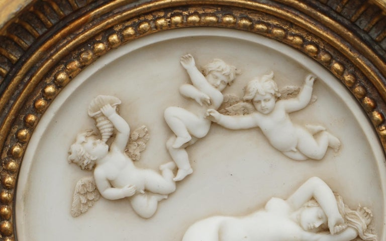 Pair of Vintage French Plaques Giltwood Depicting Cherubs & Nude Maidens Italian For Sale 2