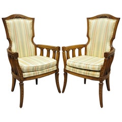 Pair of Vintage French Provincial Hollywood Regency Tall Back Lounge Armchairs