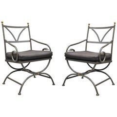 Pair of Vintage French Regency Wrought Iron Frame Curule Swan Armchairs, Cramco