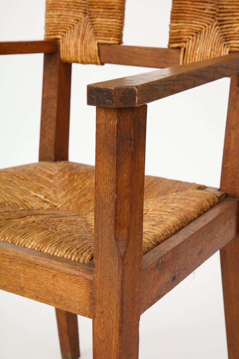 Pair of Vintage French Rush Armchairs For Sale 7