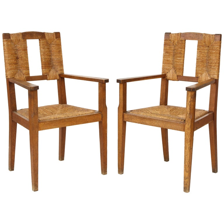 Pair of Vintage French Rush Armchairs For Sale