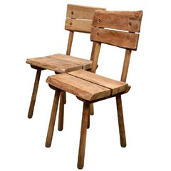 Pair of Vintage French Rustic Oak Dining Chairs
