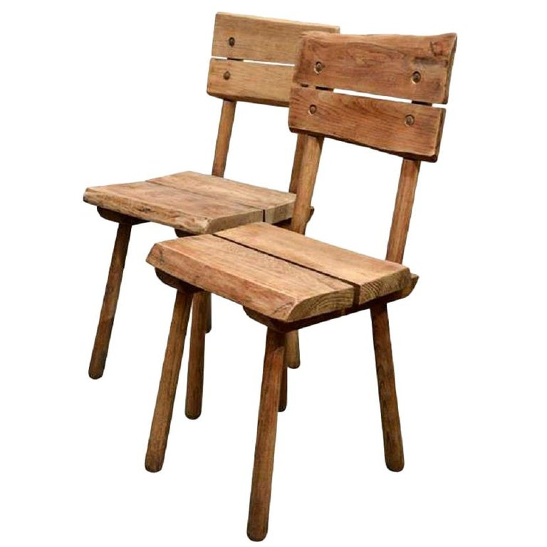 Pair of Vintage French Rustic Oak Dining Chairs For Sale