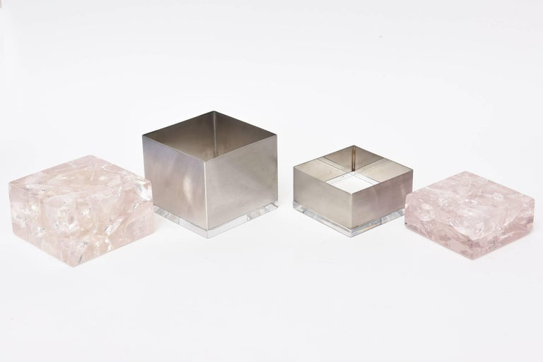 Modern Pair  of Pierre Giraudon Sculptural Embedded Lucite & Stainless Steel Boxes For Sale