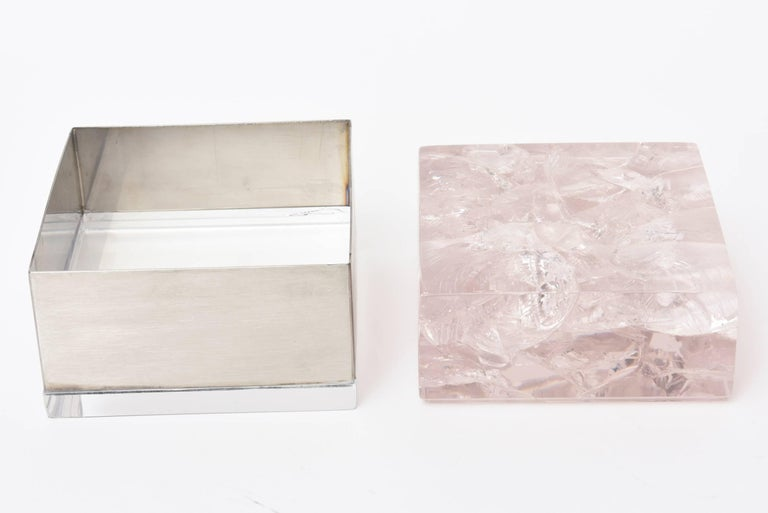 French Pair  of Pierre Giraudon Sculptural Embedded Lucite & Stainless Steel Boxes For Sale