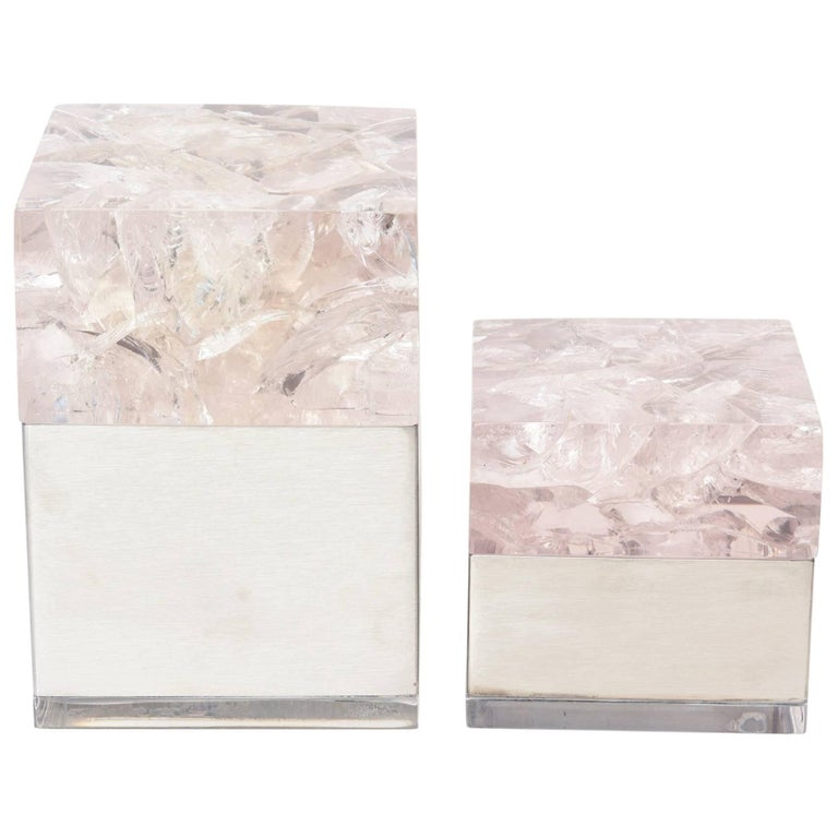Pair  of Pierre Giraudon Sculptural Embedded Lucite & Stainless Steel Boxes For Sale