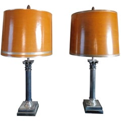 Pair of Vintage French Silver Plated Classical Column Lamps